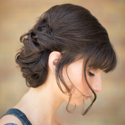 side view of twisted wedding hair design in Port Clinton